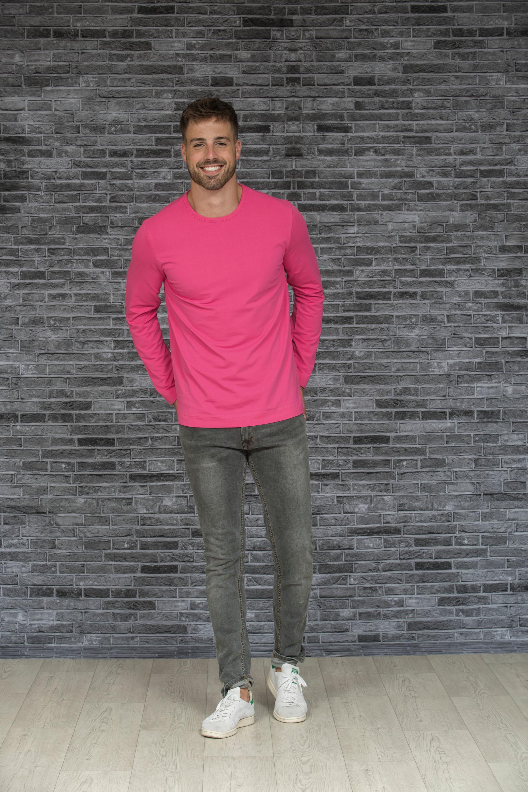 L&S T-shirt Ronde hals cot/elast Lange mouw voor Heren