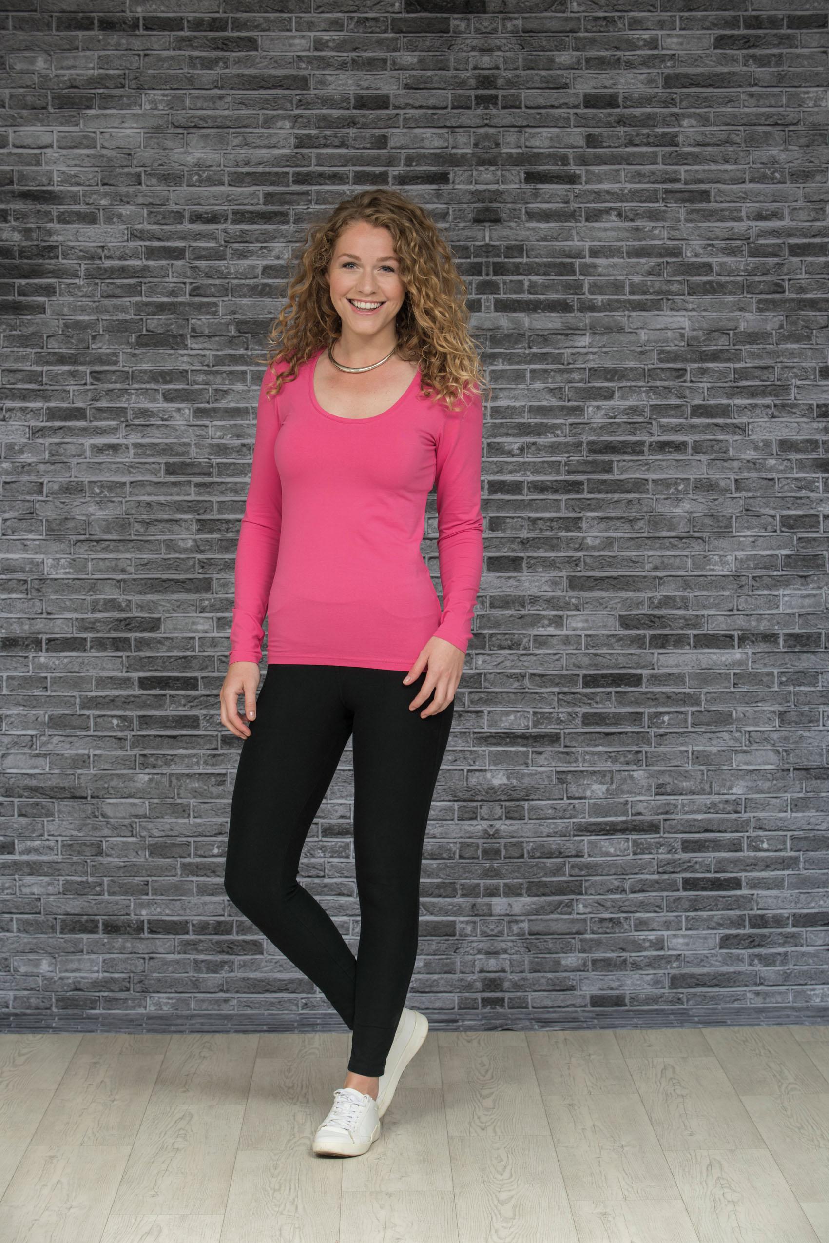 L&S T-shirt Ronde hals cot/elast Lange mouw voor Dames