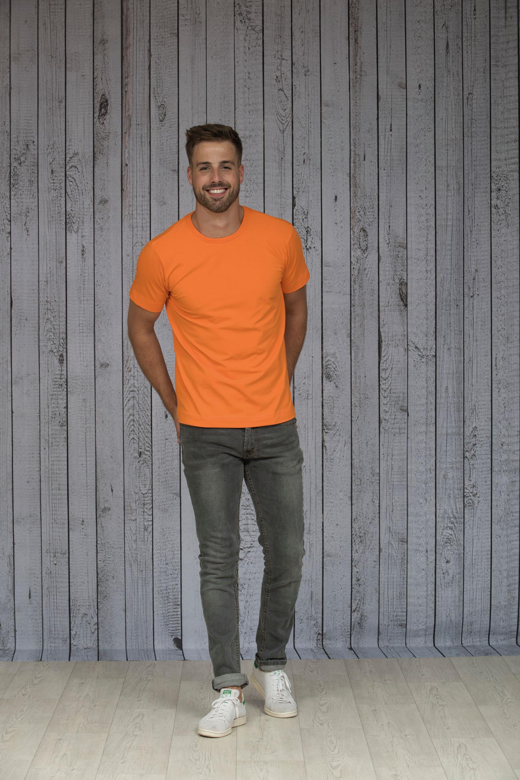 L&S T-shirt Ronde hals cot/elast Korte mouw voor Heren