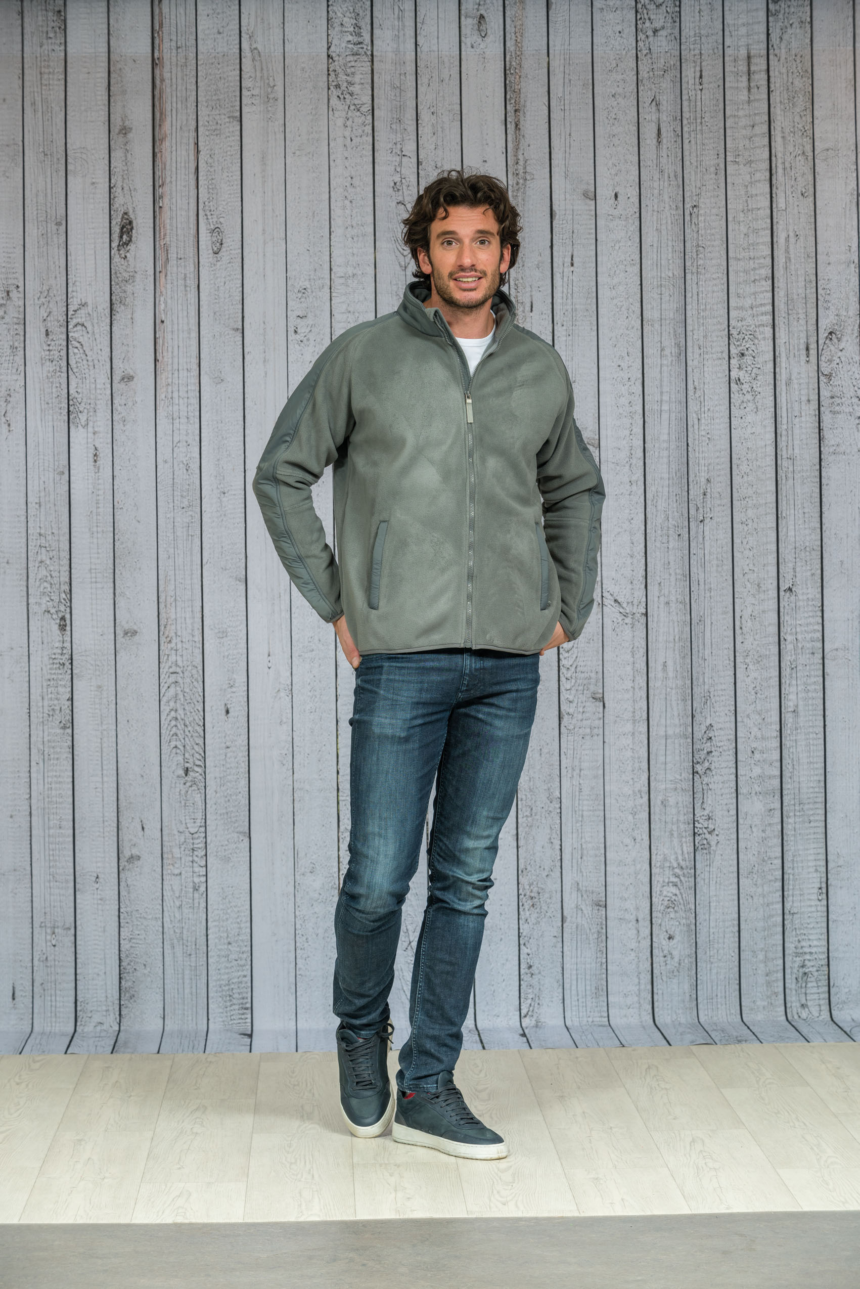L&S Polar Fleece Cardigan gebonden