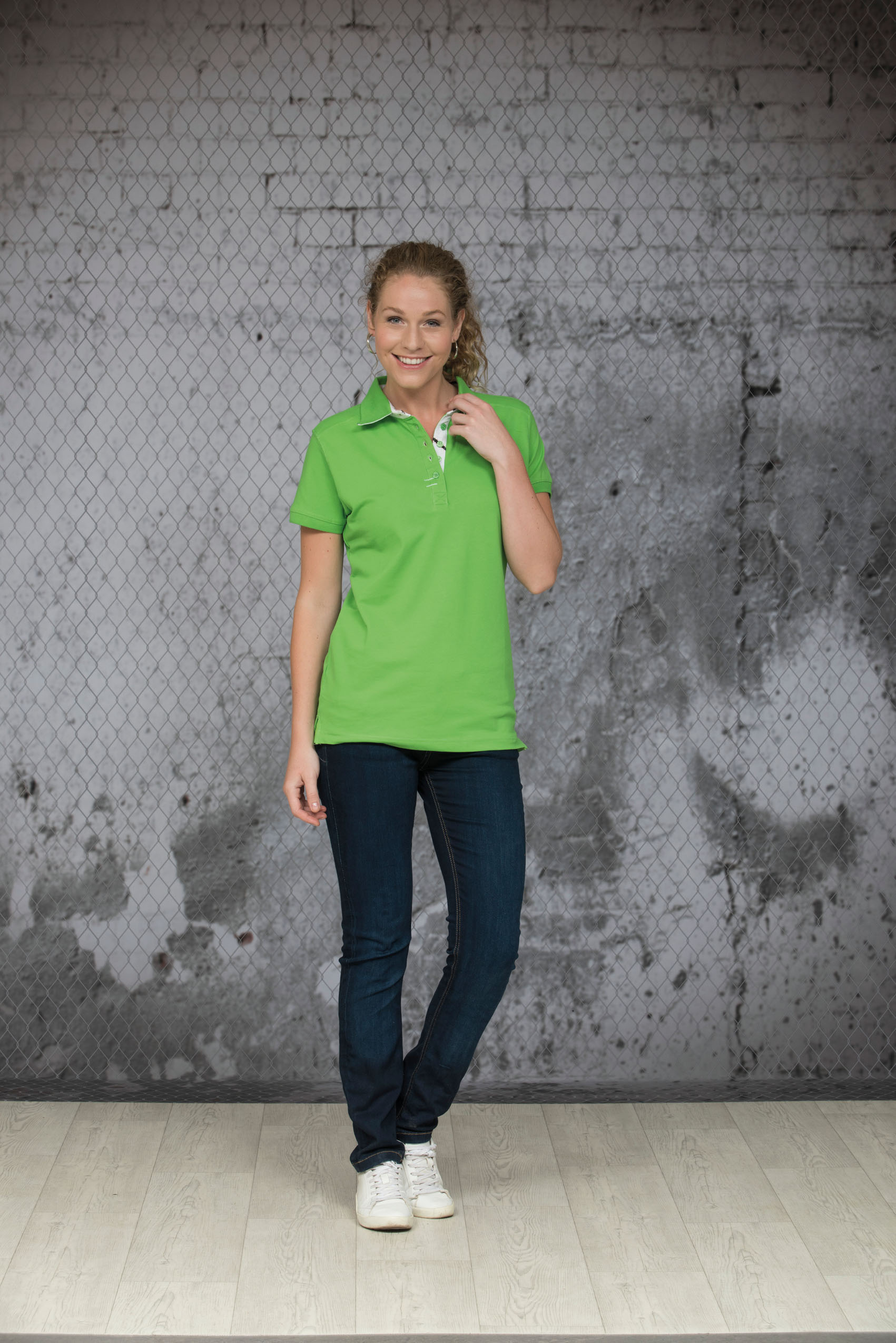 L&S Polo cot/elast Korte mouw voor Dames