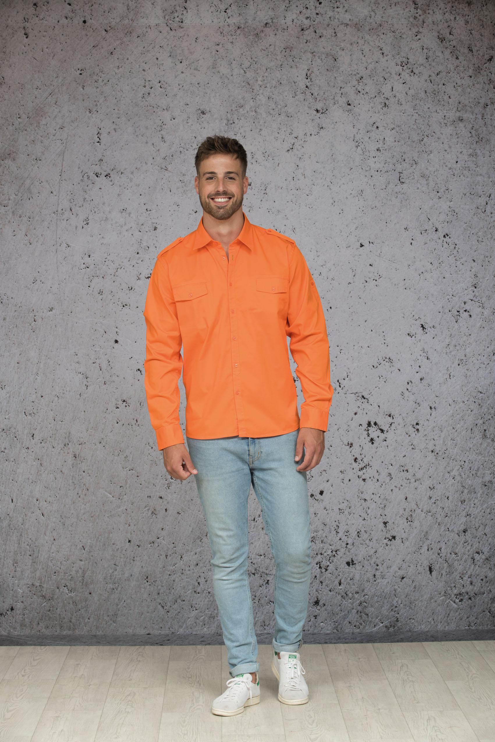 L&S Shirt Twill Lange mouw voor Heren