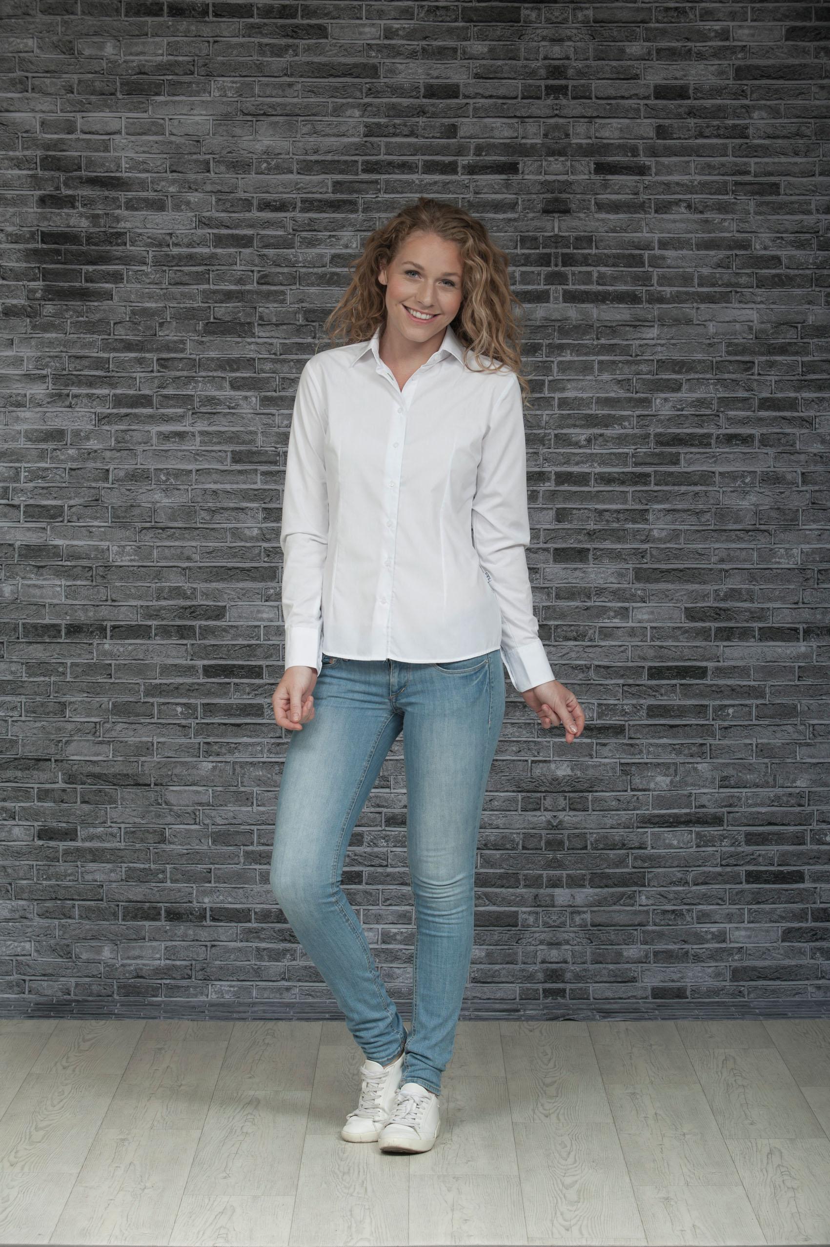 L&S Shirt Poplin Mix Lange mouw voor Dames