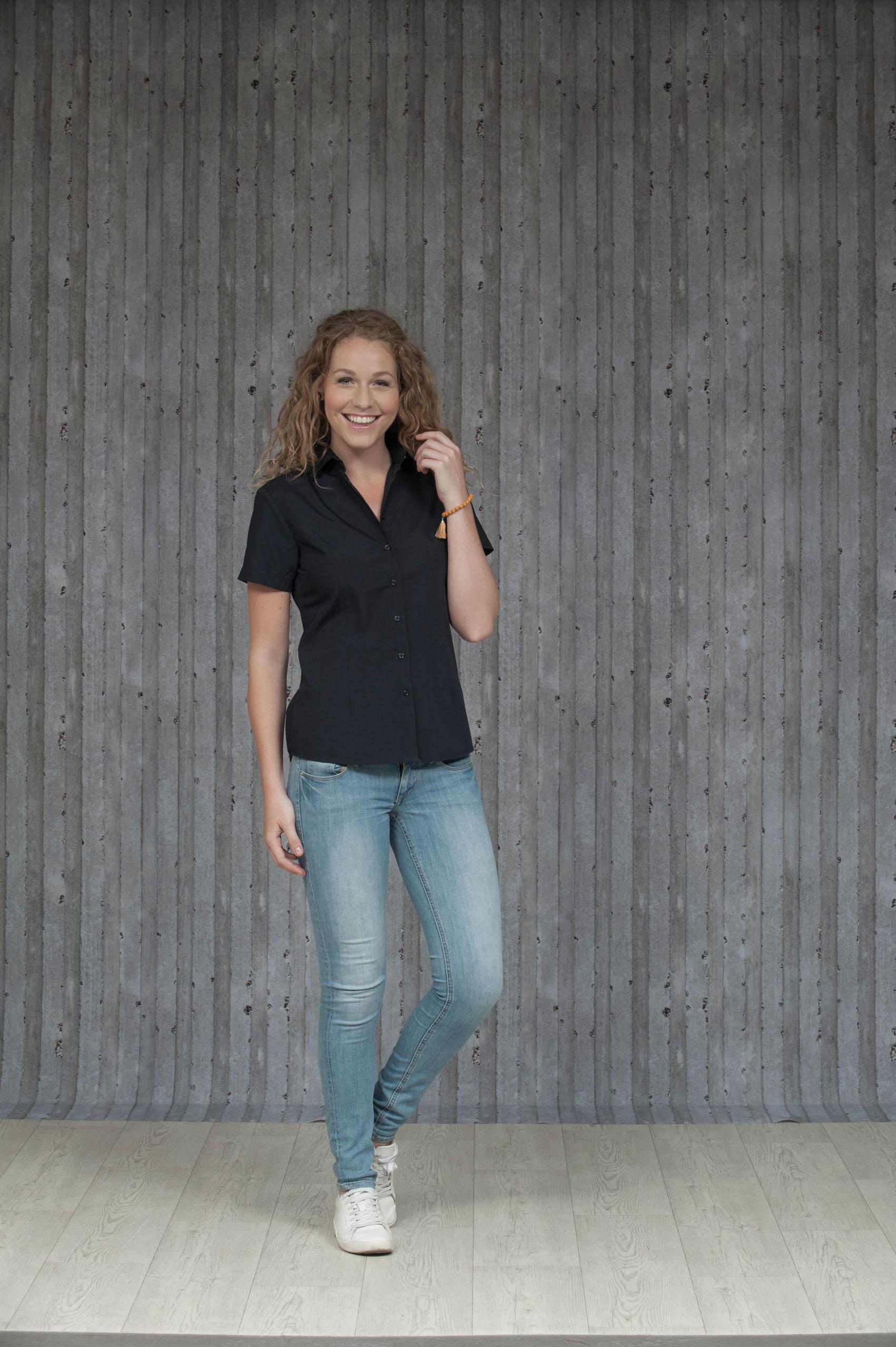 L&S Shirt Poplin Mix Korte mouw voor Dames