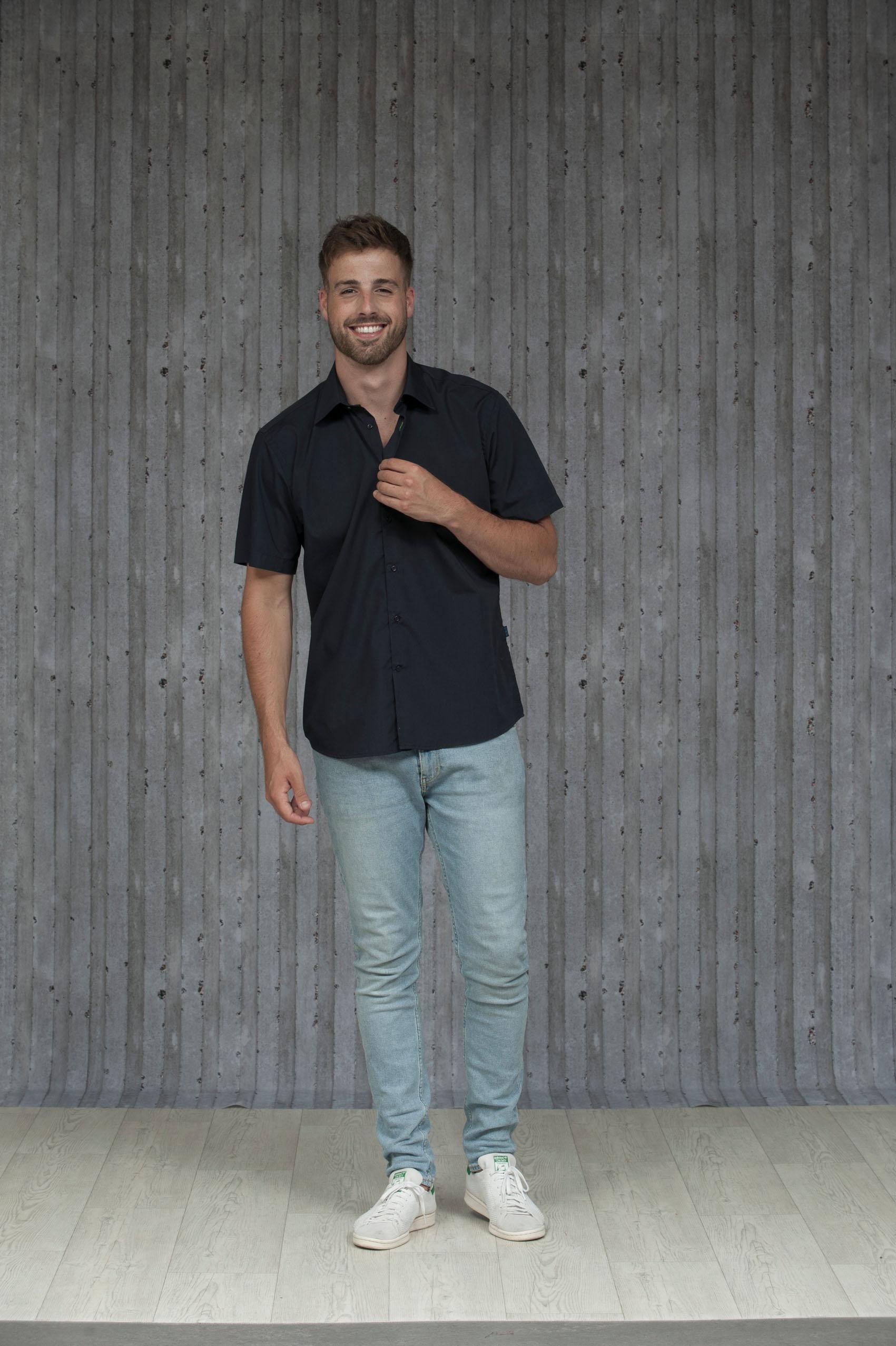 L&S Shirt Poplin Mix Korte mouw voor Heren