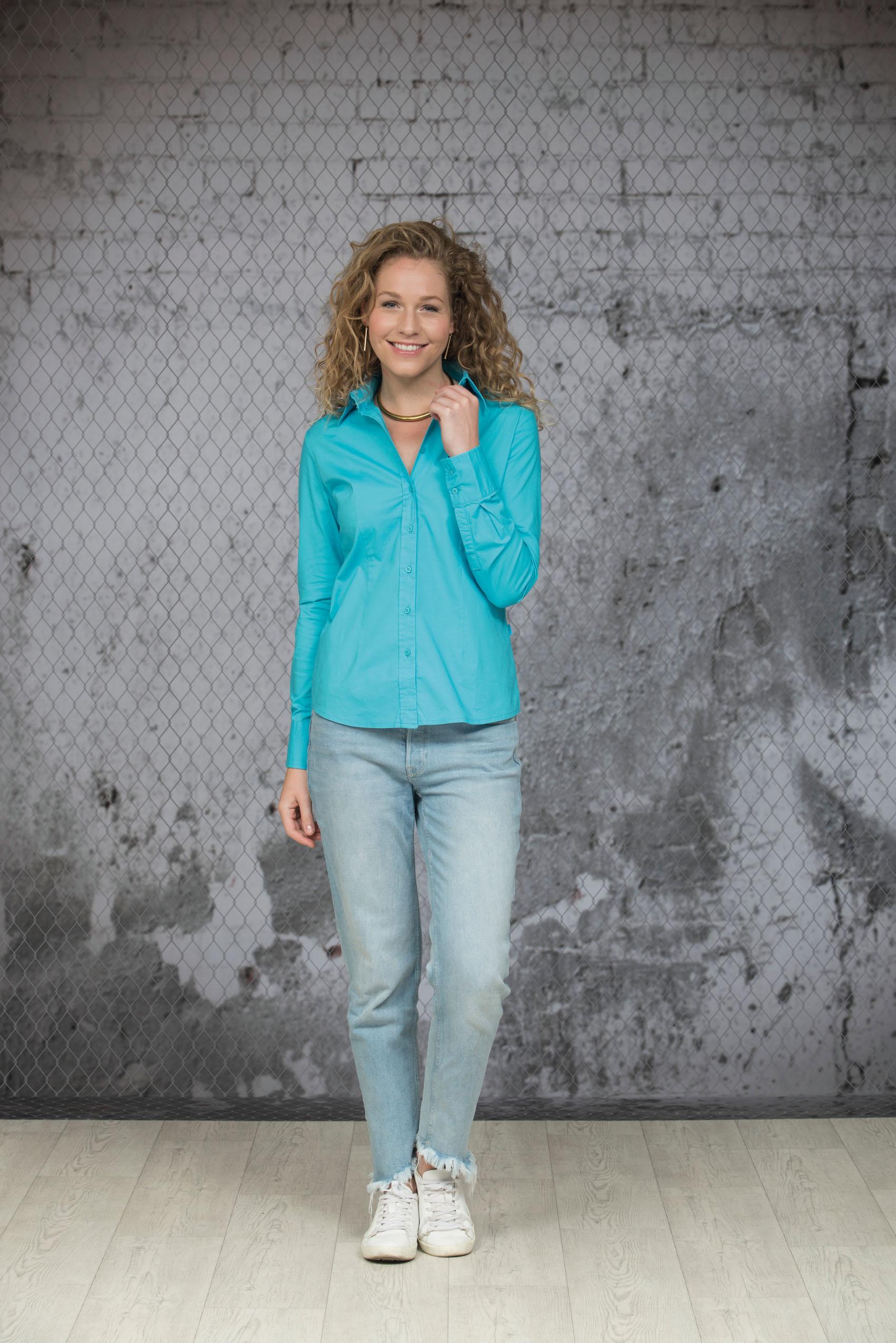 L&S Shirt Poplin Lange mouw voor Dames
