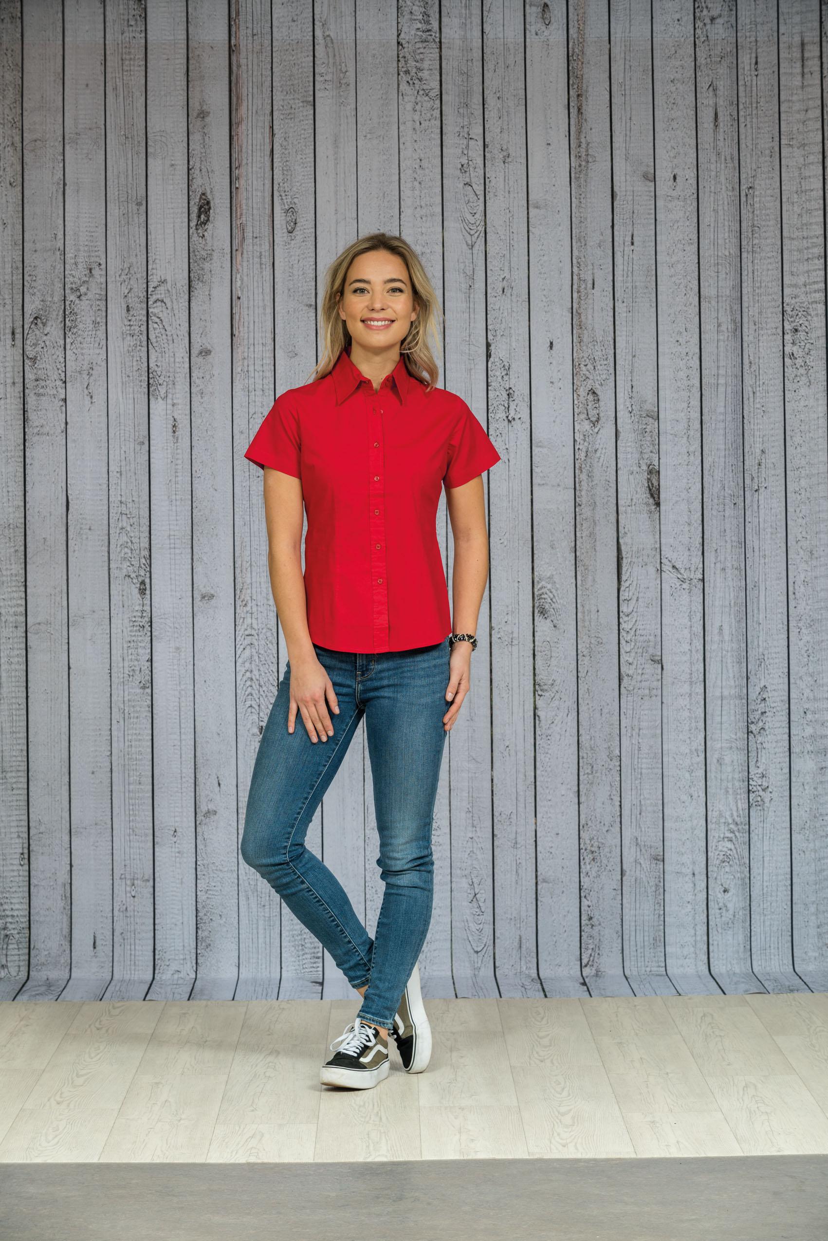 L&S Shirt Poplin Korte mouw voor Dames