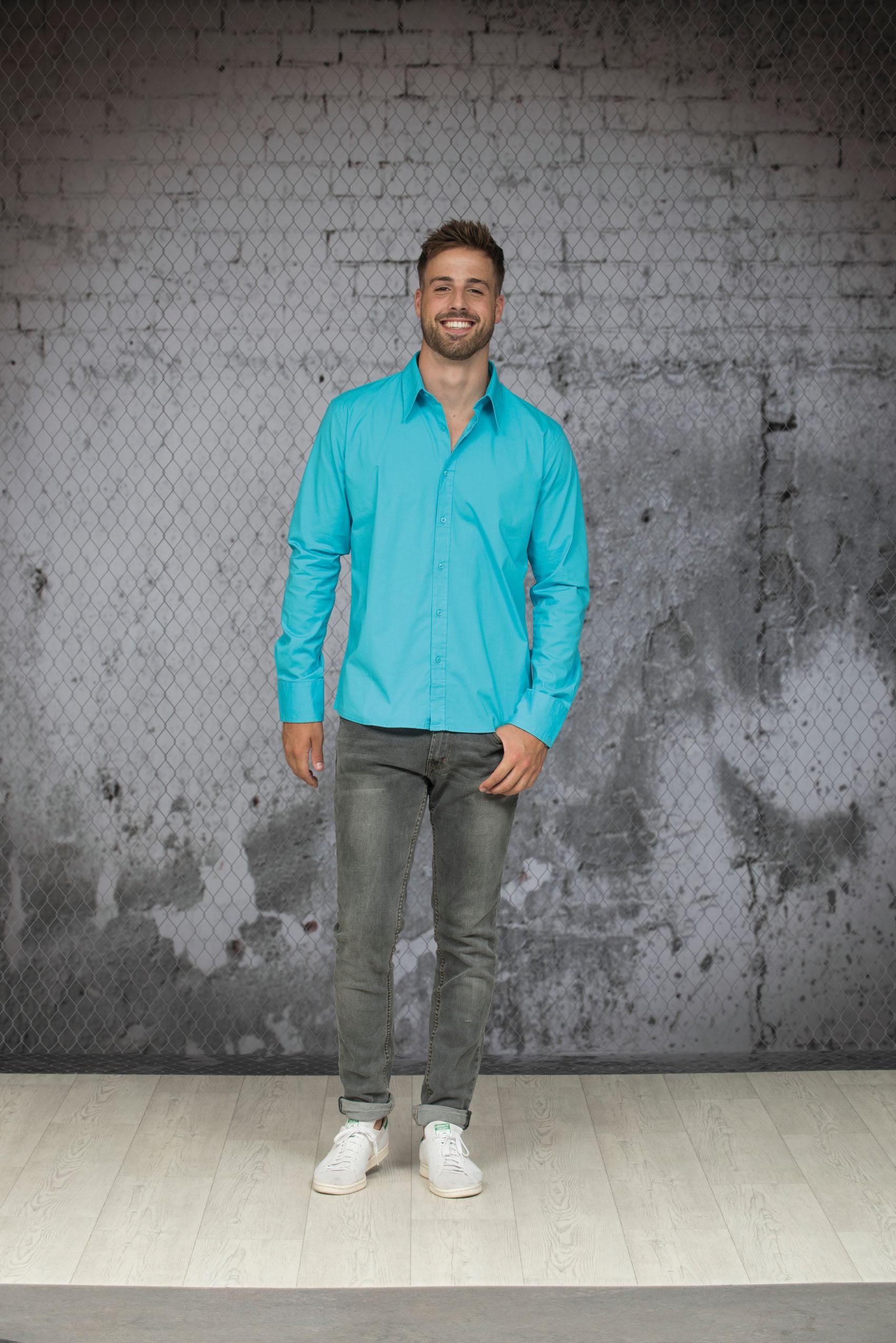 L&S Shirt Poplin Lange mouw voor Heren