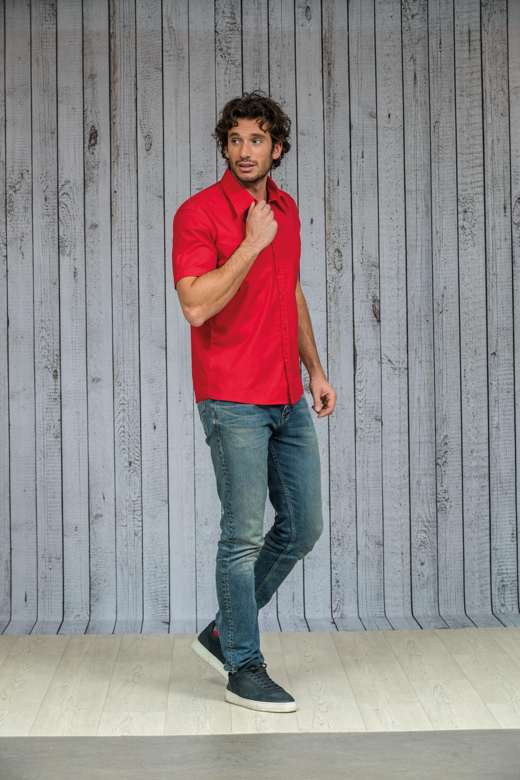 L&S Shirt Poplin Korte mouw voor Heren