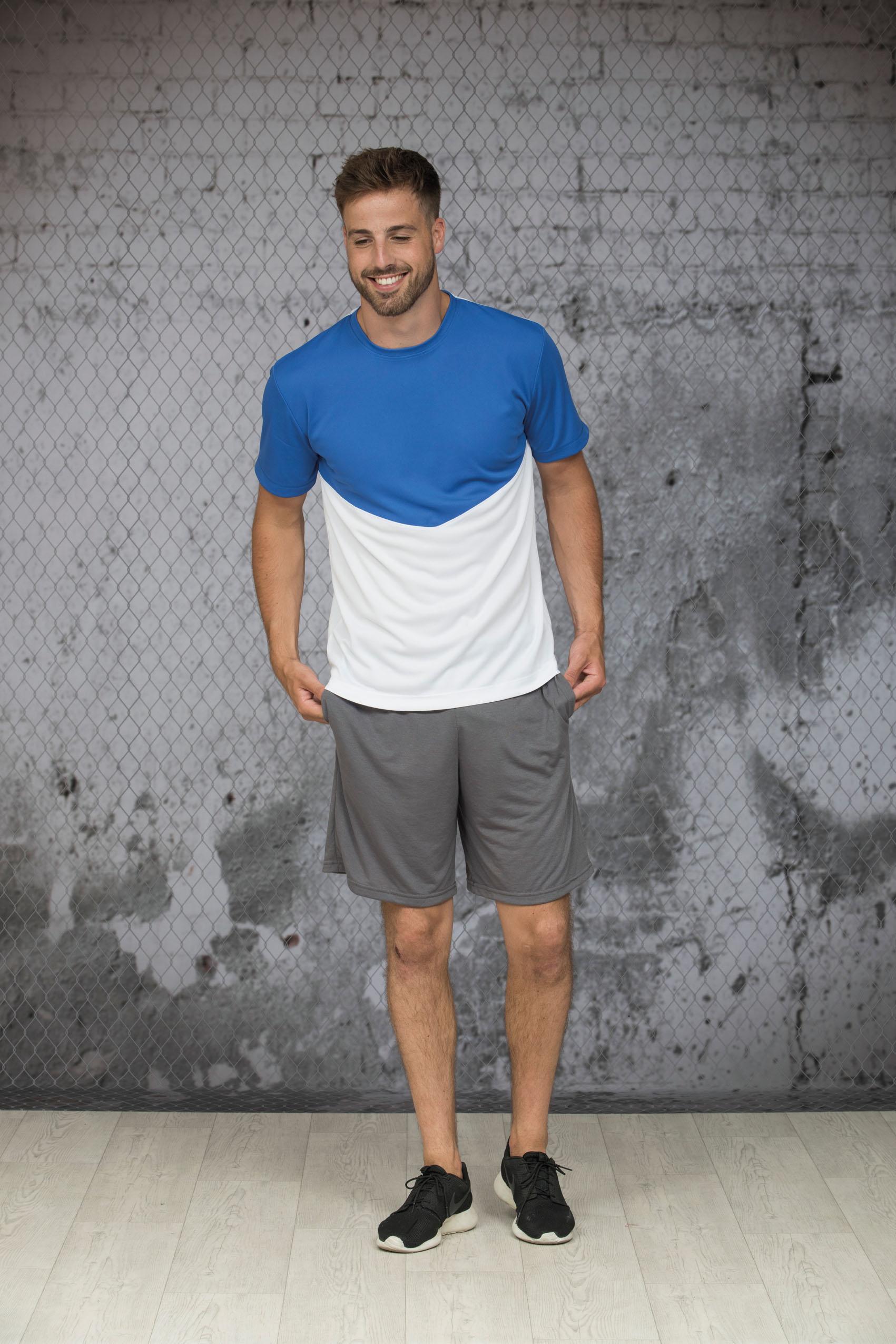 L&S Contrast Sport T-shirt voor Heren