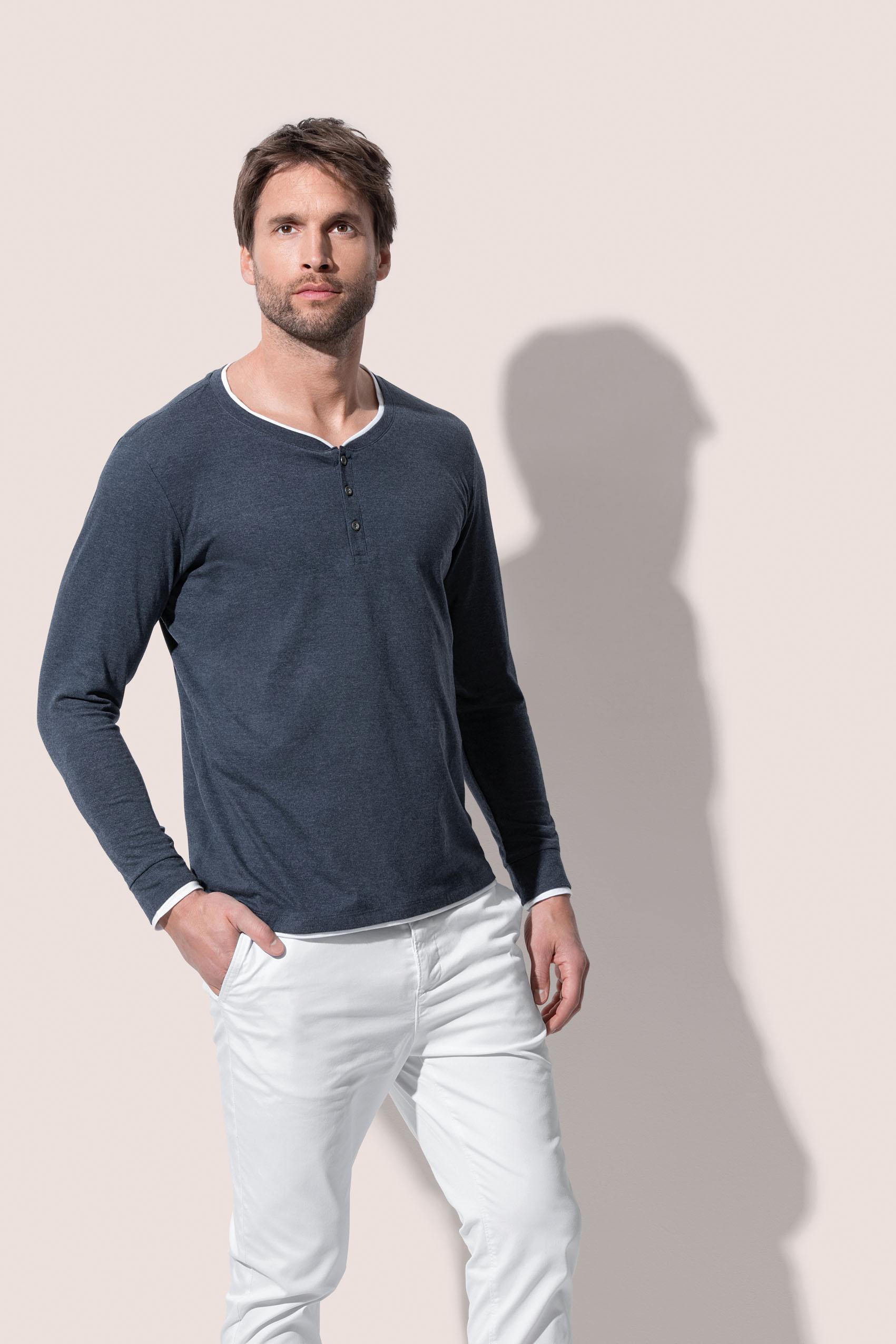 Stedman T-shirt Lang mouw Henley Luke voor Heren